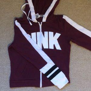 VS PINK maroon zip hoodie